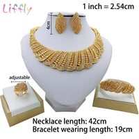 Liffly Fashion Bridal African Jewelry Set Beautiful Wave Necklace Earrings Ring Bracelet Female Nigerian Wedding Jewelry Sets