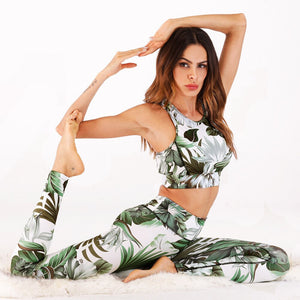 2 pieces set yoga clothing workout sports wear for women gym flower printed fitness sets sport suit colorful 2019 new