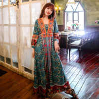 Boho tourist holiday beach dress Nepal retro print long style dress south Korean web celebrity fashion temperament thin dress