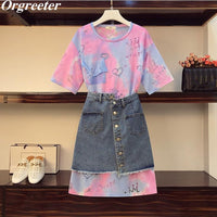 INS Fashion Gradient Printing Long Tee Denim Skirts Suits Female Summer New Plus Size M-4XL Tshirt Dress and irregular Skirt Set