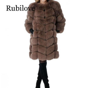 2019 Fox Fur Coat O-Neck Detachable Sleeve Bottom Transform Long Warm Winter Fashion Women Faux Fox Fur Jacket