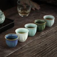 60-120ml Japanese-style 6PCS Lot Vintage Pattern Ceramic Porcelain Teacup Kung Fu Tea Set Sake Cup Coffee Milk Mug Gift Package