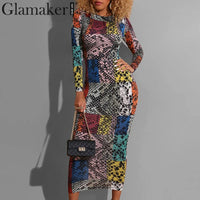 Glamaker Vintage animal print pencil vestidos dress Women slim bodycon long dress plus size Spring sexy elegant party dress robe
