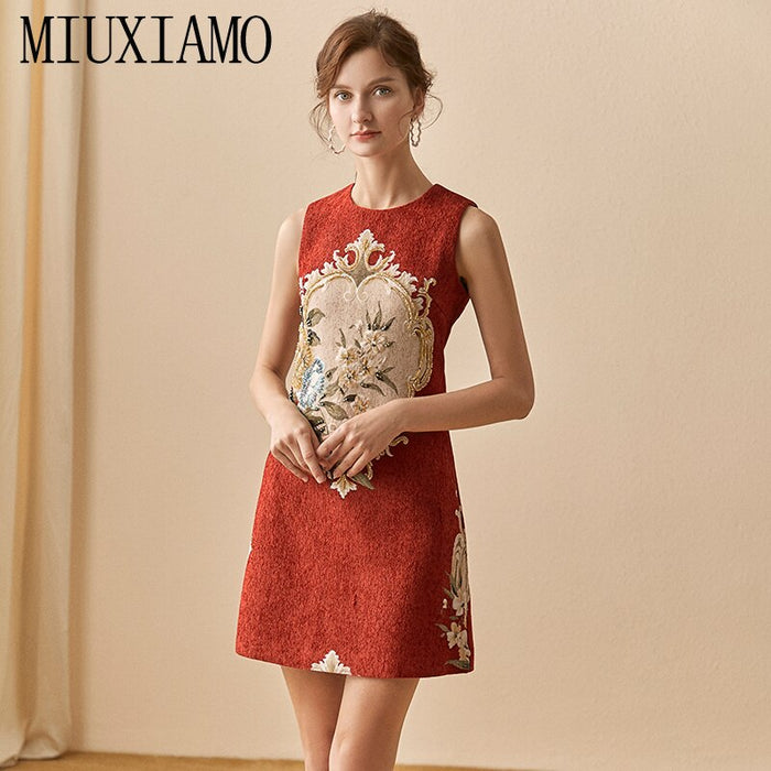 MIUXIMAO High Quality 2020  Spring  Dress Newest Fashion Sleeveless Flower Diamonds