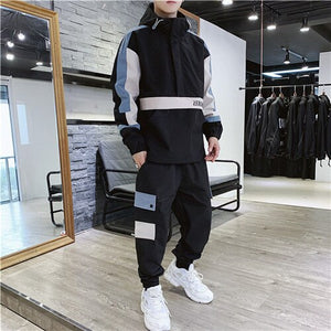 Fashion 2 Pieces Sets Mens Fashion Cargo Pullover Tracksuit With Pockets Military Jackets