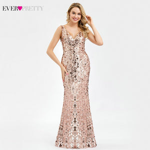 Robe De Soiree Ever Pretty Sequined Evening Dresses Long Rose Gold V-Neck Mermaid Elegant Formal Party Dresses Robe Longue