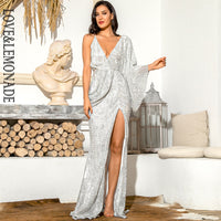 LOVE&LEMONADE Sexy Silver V-Neck Single Sleeve Sequins Split Party Maxi Dress LM81848