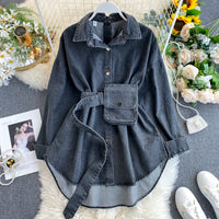 2020 Vintage Sashes Slim Waist Jeans Coat Autumn Winter Women Denim Jacket Korean