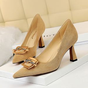 BIGTREE Women Pumps 2020 New Women High Heels Shoes Fashion Crystal Square Buckle
