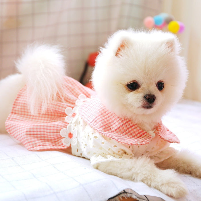 Dog Dress Hollow Pink Plaid Skirt Spring Summer Dog Clothes For Small Dog Party Dog