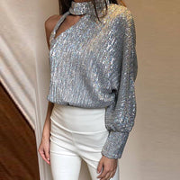 Women Sequined Glitter One Shoulder Cut Out Sequins Blouse Blouse Black Top Long Sleeve Off Shoulder Tops