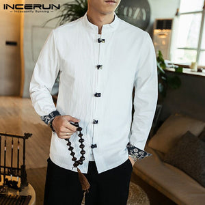 INCERUN Chinese Traditional Shirt Men Long Sleeve Solid Button Cotton Camisa Mandarin Collar Retro Casual Mens Shirt Streetwear