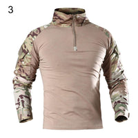 Men's Casual Blouse Tactical Military t shirt Camouflage Long Sleeve Zipper Assault Frog C