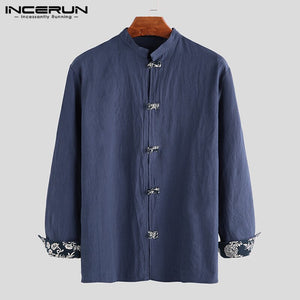 INCERUN Chinese Traditional Shirt Men Long Sleeve Solid Button Cotton Camisa Mandarin Collar