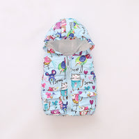5 Color Cute Cartoon Kids Jacket Autumn Winter Warm Cotton Kids Vest Hooded Zipper Girls Jackets 1-5 Years Old Baby Girl Clothes