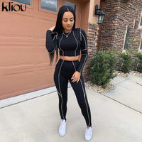 Kliou women fitness two pieces set black long sleeve crop top white striped patchwork high waist legging outfit active tracksuit