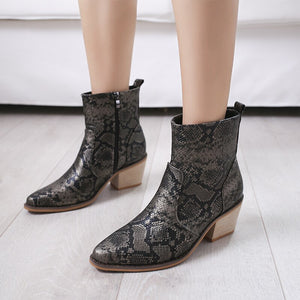 Fashion Novelty Womens Boots Ankle Short Casual Pointed Toe High Vintage Boots  Hoof Heels Print  Winter Big Size Shoes