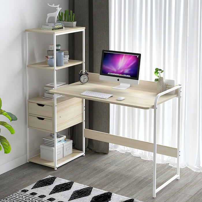 Simple desk, bookcase, computer desk, simple modern desk with bookshelf, desk, desk,