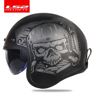 LS2 Spitfire Vintage helmet Open face fashion design retro jet half helmet LS2 OF599 casque moto with bubble visor buckles