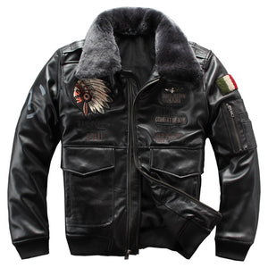 2019 Men's Genuine Sheepskin Leather Jacket Iniana Embroidery Pilot Leather Coat Winter Motorcycle Leather Jacket for Male