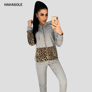 HAHASOLE Leopard Patchwork Women Sports Suit Zipper Hooded Two-Piece Suit Quick Dry Elastic Runing Yoga Set Sportwear SWD12161-2