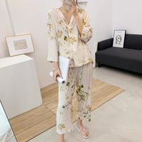 Women's Cotton Cardigan Ladies Home Clothes Half Sleeve Tops with Long Pants Pajamas
