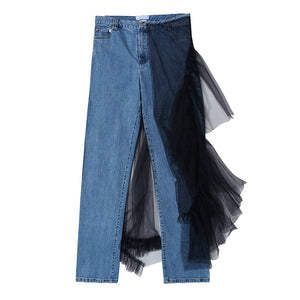 [EAM] High Waist Blue Mesh Split Joint Long Denim Trousers New Loose Fit Pants Women