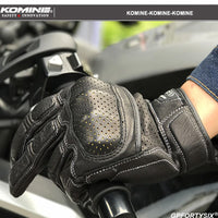 KOMINE Men Vintage Leather Motorcycle Touch Screen Gloves Full Finger Breathable Outdoor Motorbike Gloves Motocross Guantes Moto