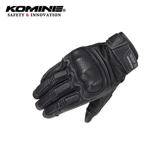 KOMINE Men Vintage Leather Motorcycle Touch Screen Gloves Full Finger Breathable Outdoor