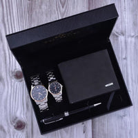 Top Quality Couple Watches Set Steel Belt Waterproof Quartz Wristwatch Folding Wallet Signing Pen Gift Sets for Lover Men Women