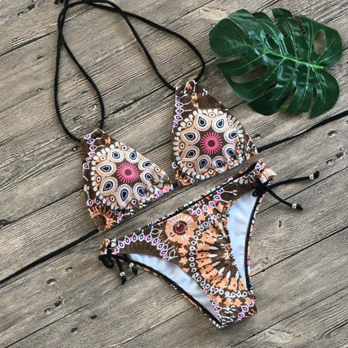2020 Women Beach Boho Print Swimsuit Bikini Halter Push Up Bikini Beach Swimwear M68D