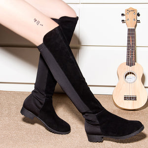 Women Over The Knee Boots 2019 Winter Thigh High Boots Suede Ladies Black Long Booties Elastic 4cm Block Heels Size 34-43 A221