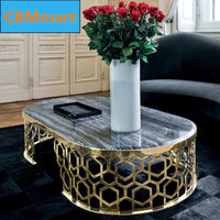 Nordic creative marble tea table black round tea table personality designer light luxury round table simple coffee table