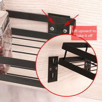 Stainless Steel Kitchen Wall Shelf Storage Organizer Shelf Spice Rack Punch Free Storage Shelves Rack for Kitchen Bathroom