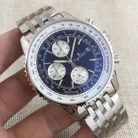 Luxury Brand New Men Automatic Mechanical Chronograph Stopwatch Black Blue Rubber Stainless Steel Sapphire Limited Watches AAA+
