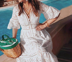 Boho Solid Light Blue V-neck Half Flare Sleeve Hook Flower Hollow Single-breasted Lace 2019 New Summer Elegant Women Dress