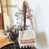 Cute Embroidery Faux Fur Shoulder Bag Girly 2019 Female Boho Chic Gypsy Hairy Messenger Bag with Pom Pom Details Wide Strap Bag