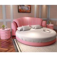 Lake blue color romantic round bed modern style bedroom