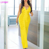 2019 autumn and winter new European and American women's sexy V-neck fashion sling stitching lace straight jumpsuit
