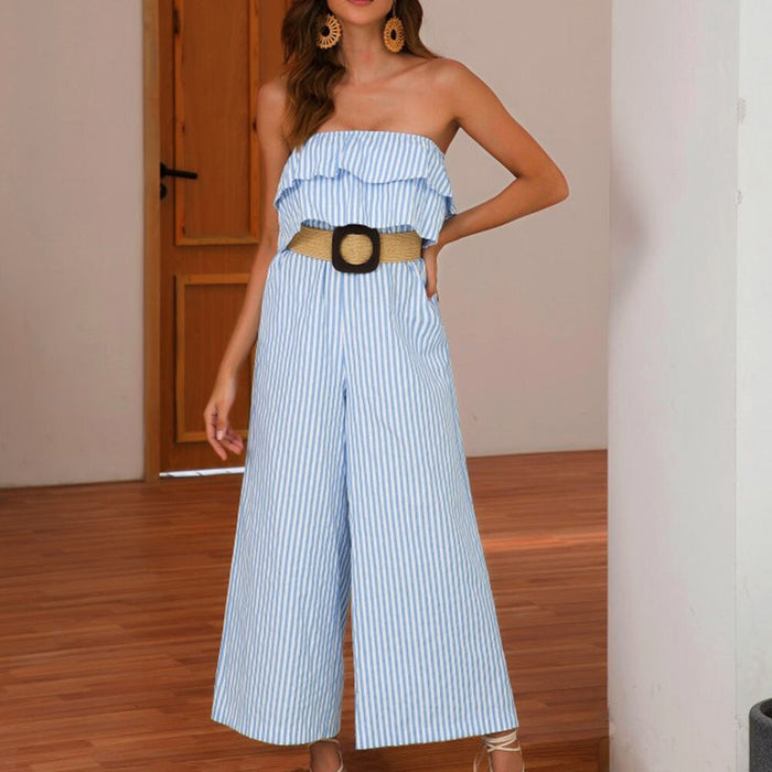 Fashion Women Off Shoulder Ruffle Wide Leg Slim Up Blue Striped Loose Jumpsuits Backless