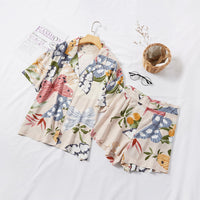 Short-sleeved Pajamas Set for Women Short-sleeved Tops with Shorts Home Clothes Floral Print