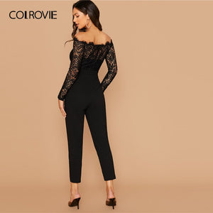 COLROVIE Black Off Shoulder Lace Bodice Self Belted Jumpsuit Skinny Sheer Jumpsuits Women 2019 Autumn High Waist Long Jumpsuits