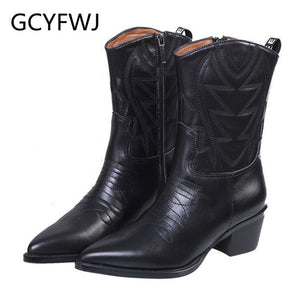 GCYFWJ Sewing Knight Boots Chunky Heel Pointed Toe Black Geniune Leather Side Zip Winter Mid Calf Boots Women Botines Mujer 2019