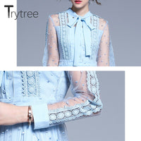 Trytree 2019 Autumn Women Casual Voile Dress Bow Empire Fashion Lace Patchwork Mid-Calf A-Line Elegant Office Lady Blue Dress