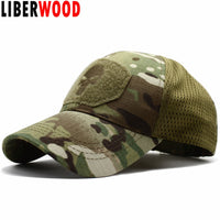 LIBERWOOD Punisher Skull Multicam Operator Cap Men Mesh summer Fitted Tactical Cap Special Force Sniper SWAT Hat place patch OD