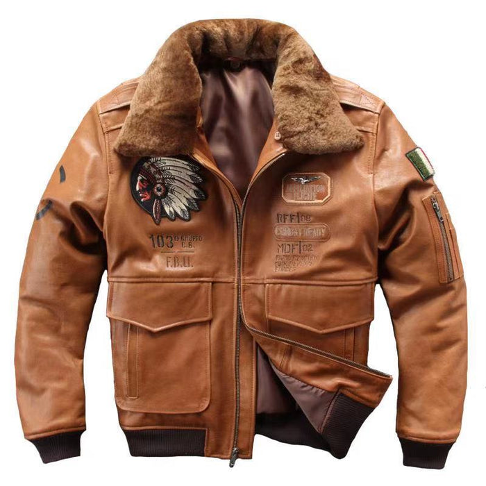 2019 Men's Genuine Sheepskin Leather Jacket Iniana Embroidery Pilot Leather Coat Winter