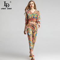 LD LINDA DELLA 2020 Spring Summer Fashion Women's Suit Holiday Party Vintage Print Top and Vintage Pants Two Pieces Set Suits