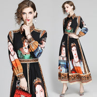Banulin New Spring Charactor Print Long Dress Women 2020 Long Puff Sleeve Vintage