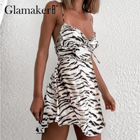 Glamaker Sexy backless Zebra pattern sleeveless dress Women Ruffles summer short dress Elegant party club mini vestidos new