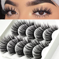 5 Pairs Handmade Eyelashes 3D Soft Mink Hair False Lashes Natural Long Wispy Makeup Fake Eye Lashes Extension Tools Supplies